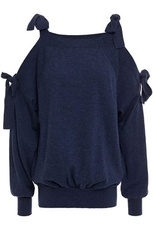 See by Chloé See By Chloé Woman Cold-shoulder Mélange Wool And Cotton-blend Sweater Navy Size L