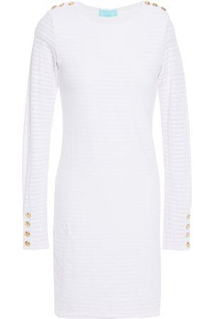 Melissa Odabash Woman Agata Button-detailed Striped Stretch-piqué Mini Dress Off- Size L