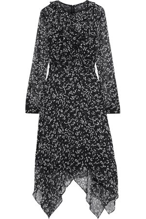 MIKAEL AGHAL Woman Asymmetric Belted Ruffled Printed Crepon Dress Size 10