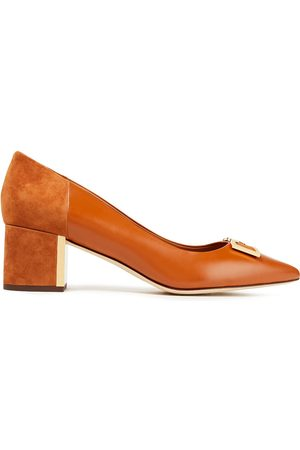 Tory Burch Woman Embellished Suede-trimmed Leather Pumps Tan Size 10