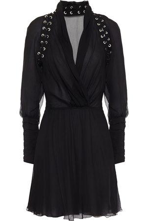 Redemption Woman Wrap-effect Lace-up Silk-crepon Mini Dress Size 38