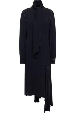 MARNI Woman Asymmetric Tie-neck Draped Crepe Dress Midnight Size 36