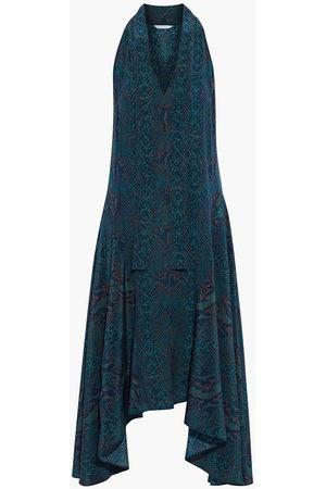 Joie Woman Breeda Asymmetric Tie-neck Snake-print Silk Crepe De Chine Midi Dress Animal Print Size L