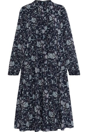 MIKAEL AGHAL Woman Pleated Floral-print Crepe De Chine Midi Dress Midnight Size 10