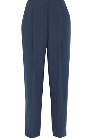 American Vintage Woman Holiester Pleated Crepe Straight-leg Pants Navy Size L
