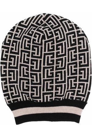 Balmain Men Hats - Two-tone monogram intarsia-knit hat