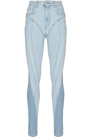 MUGLER Women High Waisted - High-rise panelled skinny jeans
