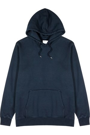 Colorful Standard Men Sweatshirts - Navy Hooded Cotton Sweatshirt
