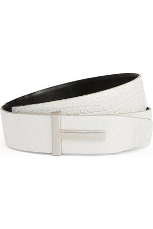 Tom Ford Men Belts - Crocodile Reversible T Clasp Belt