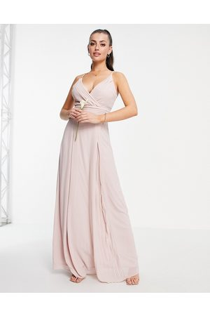 TFNC Bridesmaid pleated wrap front cami maxi dress in mink