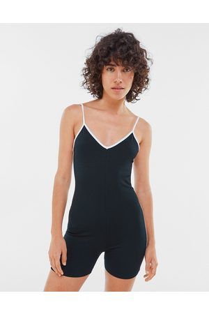 Bershka Jersey contrast piping playsuit in