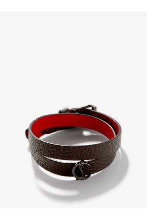 Christian Louboutin Loubilink Monogram-plaque Leather Bracelet - Mens - Dark