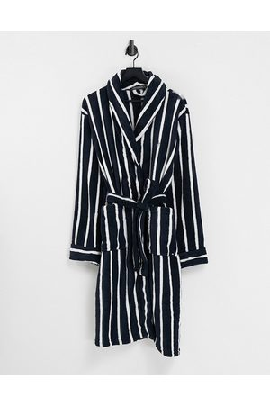 French Connection Stripped robe in marine and ecru