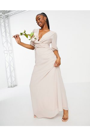 TFNC Bridesmaid wrap front maxi dress in
