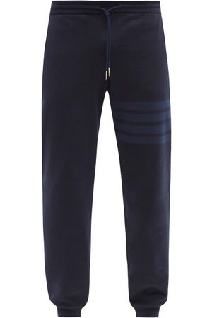 Thom Browne Men Trousers - Four-bar Cotton-jersey Track Pants - Mens - Navy