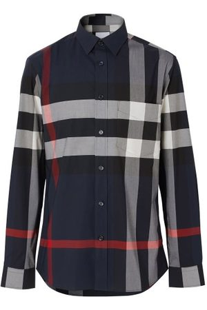 Burberry Men T-shirts - Somerton Maxi-check Cotton-blend Twill Shirt - Mens - Navy