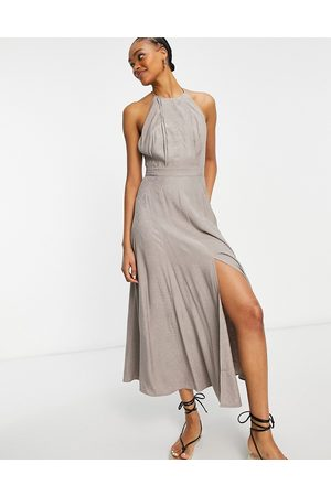 French Connection Due drape midaxi dress in walnut