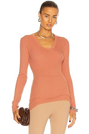 ENZA COSTA For FWRD Rib Fitted Long Sleeve Top in Peach