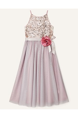 Monsoon Girls Evening Dresses - (dusky ) Fully Lined Truth Sequin Corsage Dress , Embellished, in Size: 8 Years