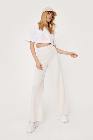 NASTY GAL Womens Ribbed High Waisted Wide Leg trousers