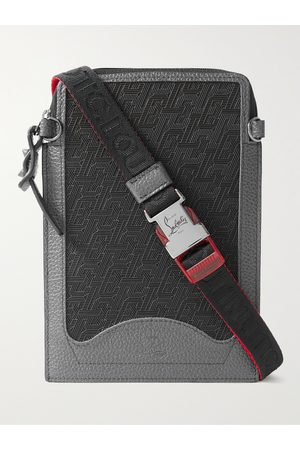 CHRISTIAN LOUBOUTIN Rubber-Trimmed Full-Grain Leather Pouch