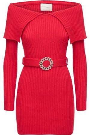 GIUSEPPE DI MORABITO Women Dresses - Wool Blend Belted Mini Dress
