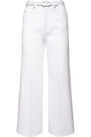 VALENTINO Women Belts - Cotton Denim Cropped Jeans W/belt