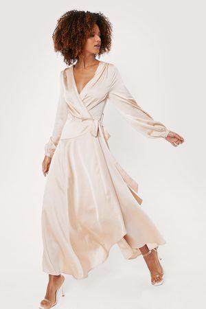 NASTY GAL Women Maxi Dresses - Womens Satin Long Sleeve Maxi Wrap Dress