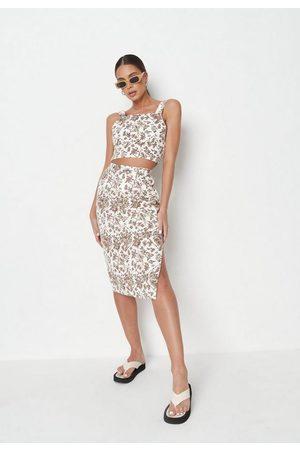 Missguided Co Ord Porcelain Print Denim Midi Skirt