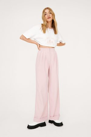 NASTY GAL Womens Tailored Wide Leg Turn Up Trousers