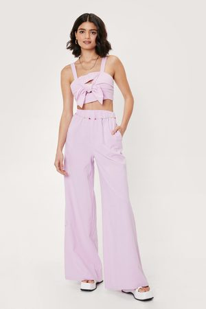 NASTY GAL Women Wide Leg Trousers - Womens Love is All We Need Crop Top and Wide-Leg Trousers Set