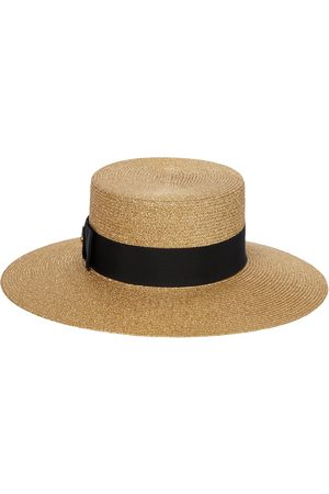Gucci Embellished lamé straw-effect hat