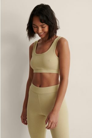NA-KD Recycled Ribbed Cropped Top - Green