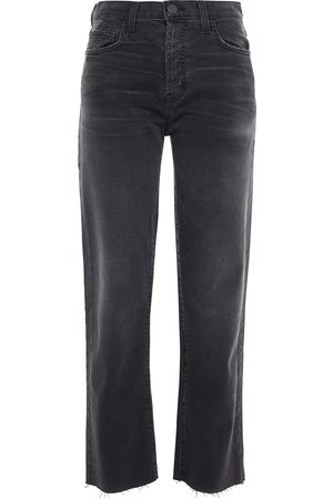 Current/Elliott Woman The Original Straight Cropped High-rise Straight-leg Jeans Charcoal Size 27