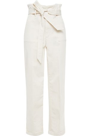 ALICE+OLIVIA Woman Belted Stretch-cotton Twill Straight-leg Pants Cream Size 0