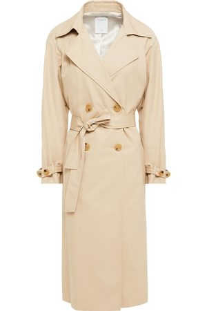 Sandro Woman Double-breasted Cotton-gabardine And Checked Jacquard Trench Coat Size 30