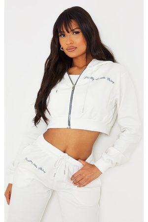 PRETTYLITTLETHING Women Sweatshirts - Cream Cropped Embroidered Zip Hoodie