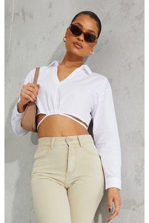 PRETTYLITTLETHING Cotton Crop Tie Waist Long Sleeve Shirt