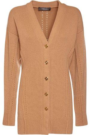 VERSACE Wool & Cashmere Knit V-neck Cardigan