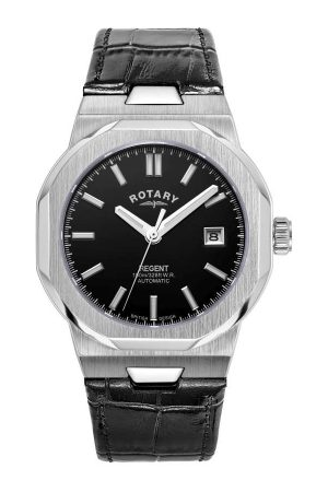 Rotary Watches Rotary Mens Regents Automatic Black Dial Stainless Steel Watch