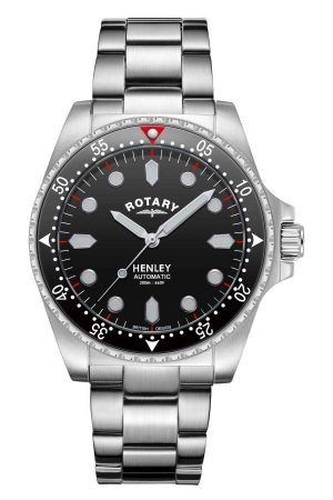 Rotary Watches Rotary Mens Henley Black Dial Analogue Quartz Dive Watch