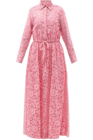 VALENTINO Drawstring-waist Floral-lace Shirt Gown - Womens