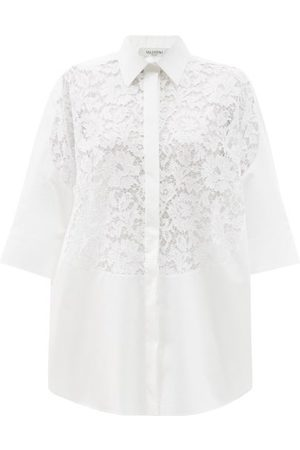 VALENTINO Floral Guipure-lace And Cotton-poplin Shirt - Womens