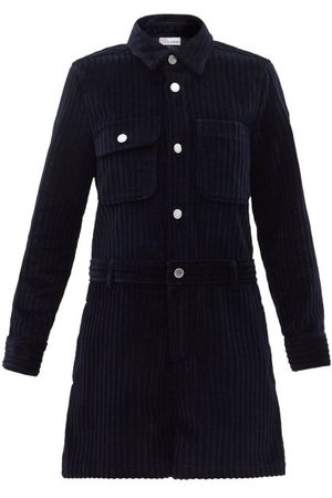 RED Valentino Long-sleeved Cotton-corduroy Playsuit - Womens - Navy