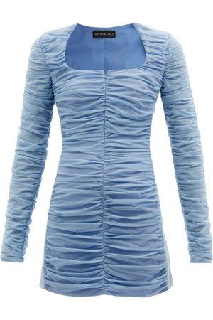 DAVID KOMA Square-neck Ruched Tulle Mini Dress - Womens