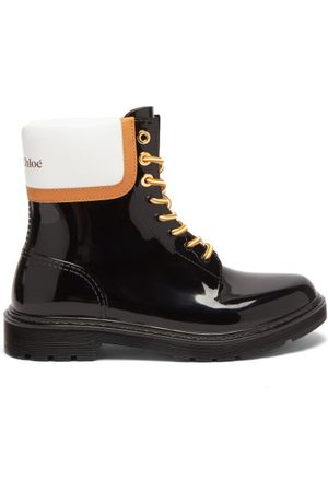 See by Chloé Logo Leather-panel Pvc Rain Boots - Womens