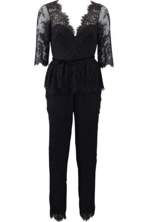 Marchesa Notte Belted Lace Jumpsuit