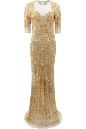 Naeem Khan Illusion Neckline Embroidered Gown