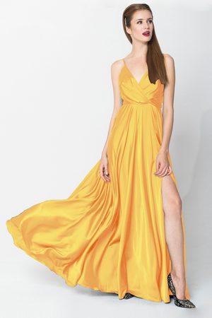 Angelika Jozefczyk Yellow Satin Elegant Evening Gown
