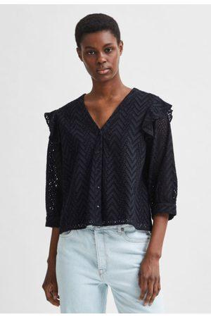 SELECTED Jossa 3/4 frill shirt black